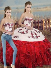 Organza Sweetheart Sleeveless Lace Up Embroidery and Ruffles and Bowknot Quinceanera Dress in White And Red