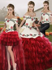Fantastic Sleeveless Floor Length Embroidery and Ruffled Layers Lace Up Vestidos de Quinceanera with Wine Red