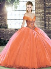 Orange Red Ball Gowns Beading Quinceanera Gown Lace Up Organza Sleeveless