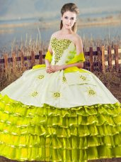 Organza Sweetheart Sleeveless Lace Up Beading and Ruffled Layers 15 Quinceanera Dress in Olive Green