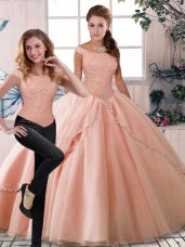 Cute Peach Two Pieces Beading Vestidos de Quinceanera Lace Up Tulle Sleeveless