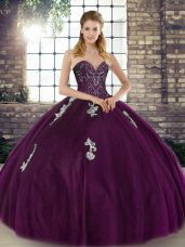 Beauteous Dark Purple Sleeveless Tulle Lace Up 15 Quinceanera Dress for Military Ball and Sweet 16 and Quinceanera