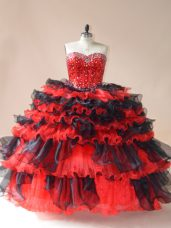 Latest Red And Black Sweet 16 Dresses Sweet 16 and Quinceanera with Beading and Ruffled Layers Sweetheart Sleeveless Lace Up