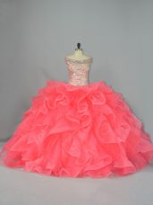 Wonderful Watermelon Red Ball Gowns Off The Shoulder Sleeveless Organza Lace Up Beading and Ruffles 15 Quinceanera Dress