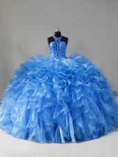 Romantic Zipper Quinceanera Gowns Blue for Sweet 16 and Quinceanera with Beading and Ruffles Brush Train