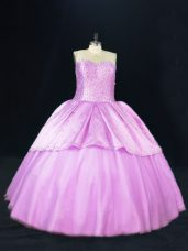 Unique Satin and Tulle Scoop Sleeveless Lace Up Beading 15 Quinceanera Dress in Lilac