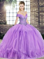New Style Off The Shoulder Sleeveless Sweet 16 Quinceanera Dress Floor Length Beading and Ruffles Lavender Tulle,Silhouette: Ball GownsNeckline: off the shoulderSleeve Length: sleevelessHemline/Train: floor lengthBack Detail: lace upEmbellishment: beading,rufflesFabric: tulleShown Color: lavender(Color & Style representation may vary by monitor.)Occasion: military ball,sweet 16,quinceaneraSeason: spring,summer,fall,winterFully Lined: YesBuilt-In Bra: Yes