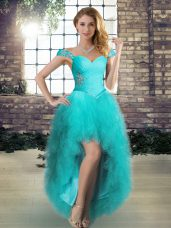 A-line Prom Dress Aqua Blue Off The Shoulder Tulle Sleeveless High Low Lace Up,Silhouette: A-lineNeckline: off the shoulderSleeve Length: sleevelessHemline/Train: high lowBack Detail: lace upEmbellishment: beading,rufflesFabric: tulleShown Color: aqua blue(Color & Style representation may vary by monitor.)Occasion: wedding partySeason: spring,summer,fall,winterFully Lined: YesBuilt-In Bra: Yes