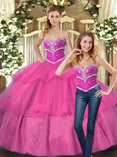 Fashionable Sleeveless Lace Up Floor Length Beading Quinceanera Gown