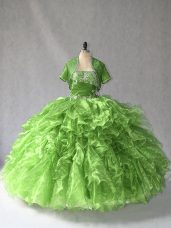 Dramatic Sleeveless Floor Length Beading and Ruffles Lace Up Sweet 16 Dress with Green
