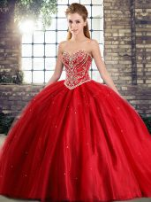 Ideal Red Quinceanera Gown Sweetheart Sleeveless Brush Train Lace Up