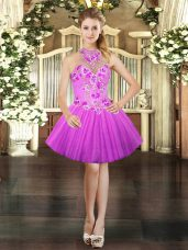Lilac Halter Top Lace Up Embroidery Dress for Prom Sleeveless,Silhouette: Ball GownsNeckline: halter topSleeve Length: sleevelessHemline/Train: mini lengthBack Detail: lace upEmbellishment: embroideryFabric: tulleShown Color: lilac(Color & Style representation may vary by monitor.)Occasion: prom,partySeason: spring,summer,fallFully Lined: YesBuilt-In Bra: Yes