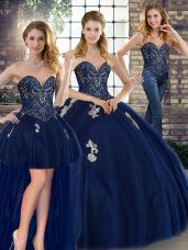 Navy Blue Three Pieces Sweetheart Sleeveless Tulle Floor Length Lace Up Beading and Appliques Sweet 16 Dresses
