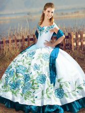Floor Length Ball Gowns Sleeveless Blue And White Sweet 16 Quinceanera Dress Lace Up