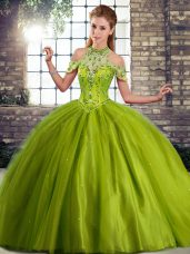 Olive Green Tulle Lace Up Halter Top Sleeveless Quinceanera Gowns Brush Train Beading