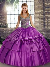 Inexpensive Taffeta Sleeveless Floor Length Quince Ball Gowns and Beading and Ruffled Layers