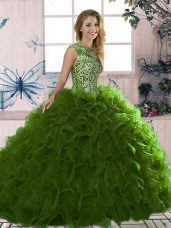 Fabulous Olive Green Sweet 16 Quinceanera Dress Military Ball and Sweet 16 and Quinceanera with Beading and Ruffles Scoop Sleeveless Lace Up