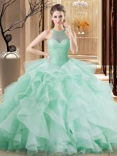 Cute Organza Halter Top Sleeveless Brush Train Lace Up Beading and Ruffles 15 Quinceanera Dress in Apple Green