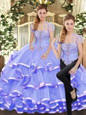 Sleeveless Lace Up Floor Length Beading and Ruffled Layers Quinceanera Dress