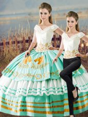 Dynamic Apple Green Quinceanera Dresses Sweet 16 and Quinceanera with Embroidery and Ruffled Layers V-neck Sleeveless Lace Up