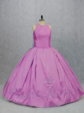 Fancy Lilac Ball Gowns Embroidery 15 Quinceanera Dress Lace Up Satin Sleeveless Floor Length