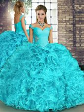 Aqua Blue Off The Shoulder Neckline Beading and Ruffles Quinceanera Dress Sleeveless Lace Up,Silhouette: Ball GownsNeckline: off the shoulderSleeve Length: sleevelessHemline/Train: floor lengthBack Detail: lace upEmbellishment: beading,rufflesFabric: organzaShown Color: aqua blue(Color & Style representation may vary by monitor.)Occasion: military ball,sweet 16,quinceaneraSeason: spring,summer,fall,winterFully Lined: YesBuilt-In Bra: Yes