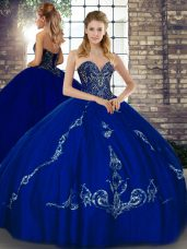 Elegant Royal Blue Sleeveless Floor Length Beading and Embroidery Lace Up Quinceanera Gowns