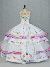 Fine Organza and Taffeta Scoop Sleeveless Lace Up Embroidery and Ruffled Layers Sweet 16 Quinceanera Dress in White