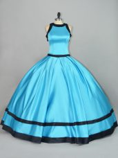 Elegant Baby Blue Quinceanera Dresses Sweet 16 and Quinceanera with Ruching Scoop Sleeveless Zipper