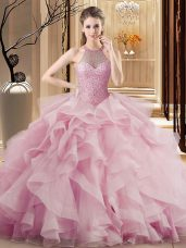 Colorful Pink Organza Lace Up Vestidos de Quinceanera Sleeveless Sweep Train Beading and Ruffles