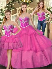Elegant Lilac Lace Up 15 Quinceanera Dress Beading and Ruffled Layers Sleeveless Floor Length