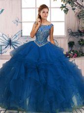 Blue Zipper Scoop Beading and Ruffles Quinceanera Gowns Organza Sleeveless