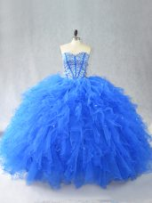 Elegant Sleeveless Tulle Floor Length Lace Up Sweet 16 Dress in Blue with Beading and Ruffles