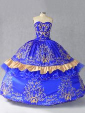 Royal Blue Sweetheart Lace Up Embroidery and Bowknot Ball Gown Prom Dress Sleeveless