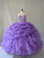 Modern Sweetheart Sleeveless Lace Up Beading and Ruffles and Pick Ups 15th Birthday Dress in Lavender