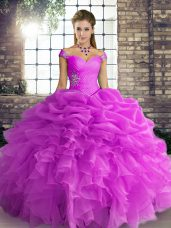 Lilac Off The Shoulder Neckline Beading and Ruffles and Pick Ups Quinceanera Gowns Sleeveless Lace Up