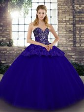 Blue Tulle Lace Up Sweetheart Sleeveless Floor Length Quince Ball Gowns Beading and Appliques