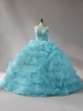Custom Design Sleeveless Beading and Pick Ups Lace Up Quinceanera Dresses with Aqua Blue Court Train