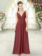 Noble Floor Length Empire Sleeveless Wine Red Prom Gown Backless,Silhouette: EmpireNeckline: v-neckSleeve Length: sleevelessHemline/Train: floor lengthBack Detail: backlessEmbellishment: ruchingFabric: chiffonShown Color: wine red(Color & Style representation may vary by monitor.)Occasion: prom,partySeason: spring,summer,fall,winterFully Lined: YesBuilt-In Bra: Yes