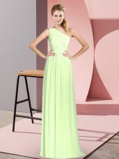 Yellow Green One Shoulder Neckline Ruching Sleeveless Lace Up