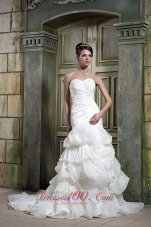 Sweetheart Ruched Layered Chapel Train Wedding Gown