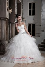 Sweetheart Beading Decorate Layered Wedding Ball Gown