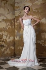 Sweetheart Ruched Court Train Chiffon Beading Wedding Dress