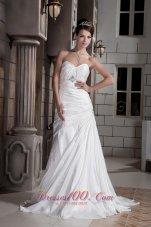 Asymmetrical Princess Sweetheart Wedding Dress Train