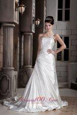 Asymmetrical Wedding Dress One Shoulder Train