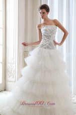 Pretty A-line Strapless Beading Tulle Wedding Dress