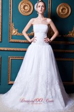 Organza Strapless Court Train Lace Wedding Dress