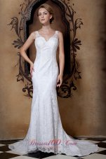 Beading V Neck Lace Court Train Wedding Dresses
