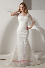 Mermaid V Neck Taffeta Lace Sleeves Wedding Dress