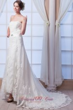 Strapless Beading Lace Wedding Dress Court Train